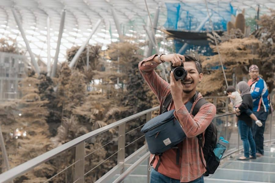 Photographer at airport