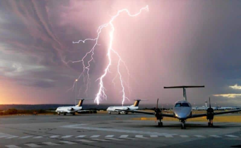 Lightning storm over Perth Airport