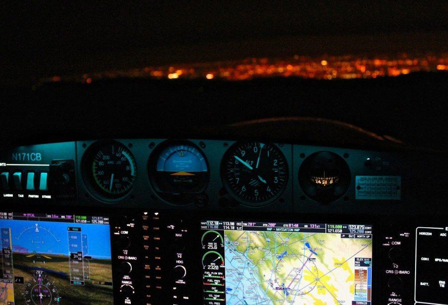 Cockpit at night