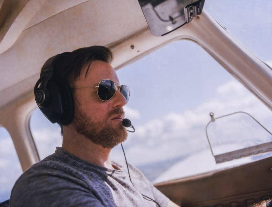 Pilot wearing sunglasses