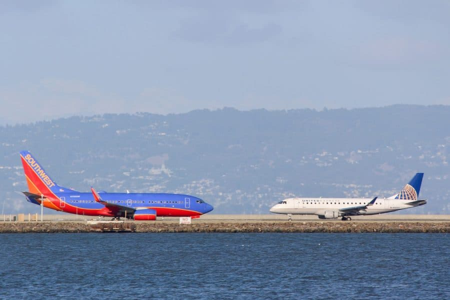 Airplanes on taxiway in San Francisco