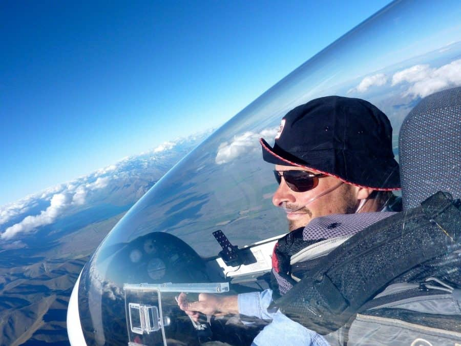 Pilot enjoying the view from his glider