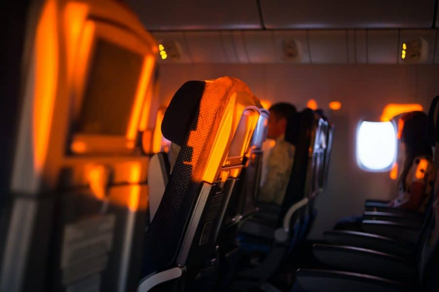 Sunset light falling on empty seats in the plane