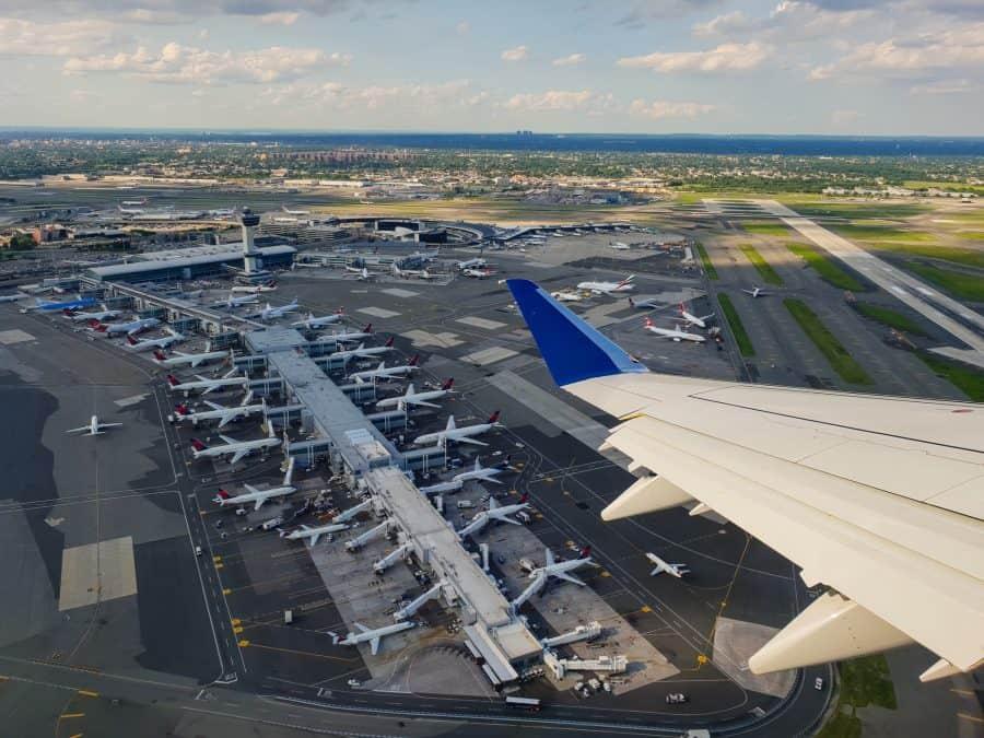 Looking down at JFK airport